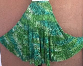 Coldwater Creek - Blue and Green Tiered Cotton Summer Skirt