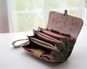 Envelope system wallet clutch, coupon organizer/ budget envelope cash wallet/ money accordion wallet French script print READY TO SHIP