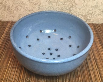 Blue Berry Bowl - Handmade Red Stoneware Berry Bowl with Vibrant Blue Glaze - Handmade Ceramic Colander - Ceramic Strainer - Kitchen