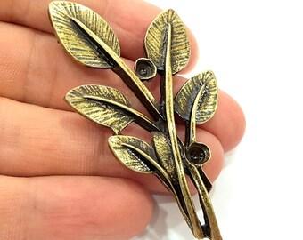 Antique Bronze Leaf Pendants (66x36mm) G6261