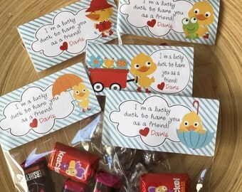 Rainy Duck Valentine Stickers - Labels and Resealable Treat Favor Bags Set of 20 or 30