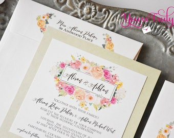 Square Custom Wedding Invitation - Watercolor Flowers in pinks, blush, coral, mint and yellow or your colors.