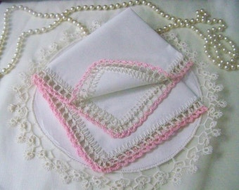 Crochet Handkerchief, Hanky, Hankie, Lace, Lacy, Ecru, Pink, Ladies, Embroidered, Personalized, Monogrammed, Bridesmaids, Ready to ship