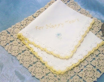 For Happy Tears Handkerchief, Hanky, Hankie, Embroidered, Personalized  Hand Crochet, Lace, Ladies, Yellow, Ready to ship
