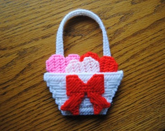 Plastic Canvas Refrigerator Magnet White Basket with Red Bow and Hearts
