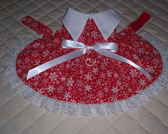 XS-S Red with White Snowflakes Dog Dress Handmade Lace Bow Clothes Pets Apparel