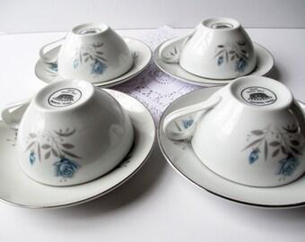 Vintage Teacups and Saucers Royal Taunton Blue Rose Set of Four