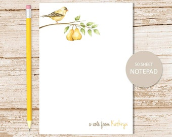 personalized notepad . pear note pad . watercolor pears, fall fruit, pear tree, bird, nature personalized stationery . stationary gift