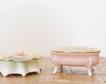 Vintage Jewelry Trinket Porcelain Boxes Set of 2 Mismatched Floral China Hand Painted Rose Flower Dresser Box Lot