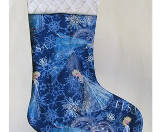 Stocking with name embroidered - Elsa in blue  - Frozen - Christmas - Personalized stocking - Gifts for kids - Christmas stocking gift ideas