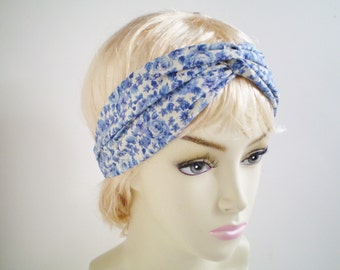 Blue Floral Turban Headband, Blue Calico Turban Headband, Blue Fllower wist Headband, Blue Tiny Flower Headband
