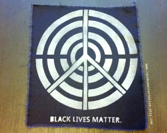 Large Black Lives Matter back patch street art stencil spray paint diy handmade by Rainbow Alternative power to the people