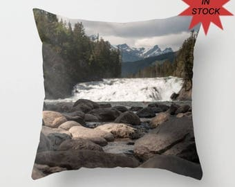 Mountain Lodge Cushion Covers with Trees, Rustic Lodge Decor, Accent Pillow Covers For A Cabin, Grey Lake House Sofa Art, Banff Alberta