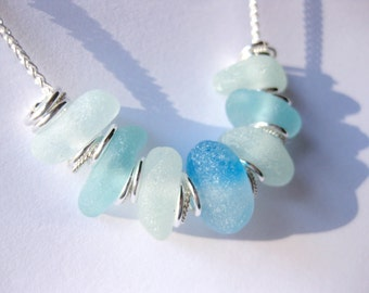 Sterling beach Glass necklace Beach Glass Jewelry statement necklace