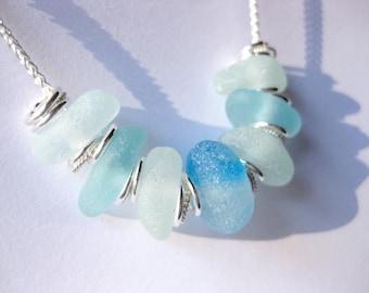 Sterling beach Glass necklace Beach Glass Jewelry statement necklace