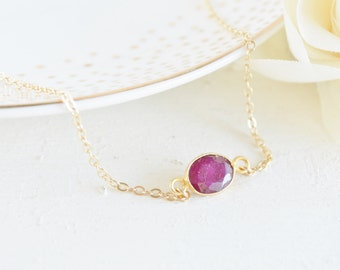 Ruby & Gold Bezel Necklace