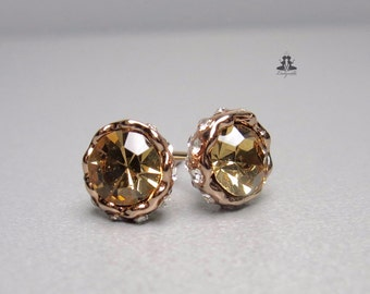 Ear studs - crown - rose gold - brown