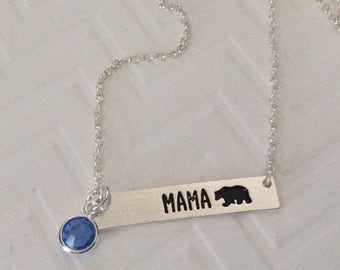 Mama Bear bar necklace, birthstone necklace, Mom Gift, Mothers Day, personalized