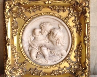 "Marble Plaque by E. W. Wyon ""Calmady Children"" Gilt Square Frame /19C Antique Art/ Sealed Home Decor / Decorative Antiques"