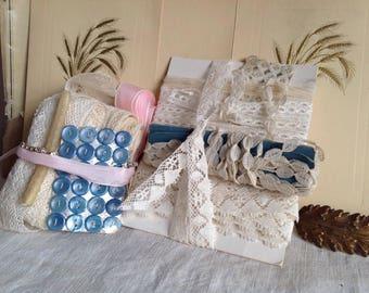 Antique Laces / Vintage Lace Trims White & Cream Needlepoint, Bobbin Laces, Pink Grosgrain Tape /Ribbons Buttons Trims 9pc Vintage Wedding