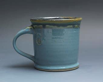 Handmade pottery coffee mug stoneware teacup glossy medium blue tea cup 14 oz 3855