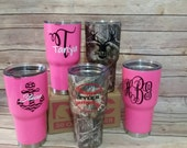 RTIC Tumbler, RTIC Cup with your choice of decal, Monogram Tumbler, Personalized Steel Tumbler, Monogram decal, Cup Decal, Christmas Gift