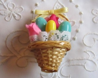 Vintage Straw Easter Basket Brooch with Lace, Ribbon, Tulips and Easter Eggs