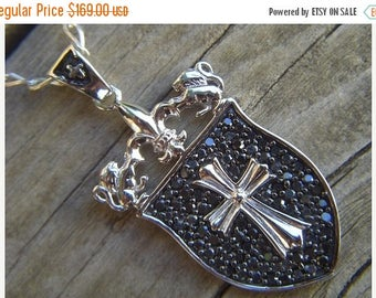 ON SALE Renaissance shield necklace in sterling siver