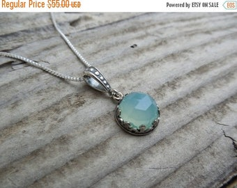 ON SALE Green chalcedony necklace handmade in sterling silver with a crown bezel