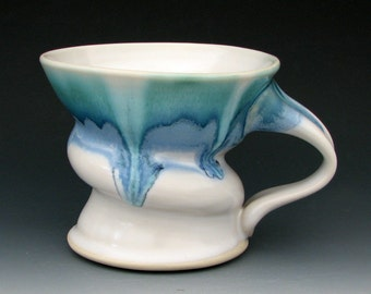 STONEWARE COFFEE MUG #15 - Ceramic Mug - Large Mug - White Mug - Blue Mug - Large Tea Mug - Large Coffee Mug - Studio Pottery