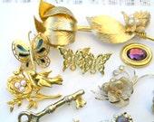 Vintage Repair Lot Antique Findings for Repair Re-purpose, Coro Brooch, Gold Costume Jewelry