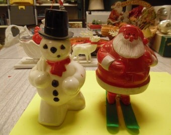 Reserved  Vintage Rosbro Santa and snowman, Santa snowman candy container,