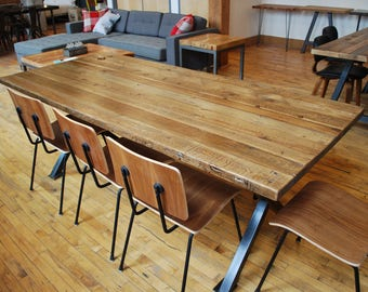 Urban Reclaimed Conference/Board Room/Office Table with oil finish, steel legs in your choice of color, size, finish. Custom 4-5 wks.