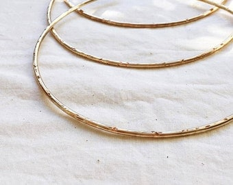 SATURNO Simple Choker / Brass Neck Cuff / Hammered Gold Minimal Metal Choker