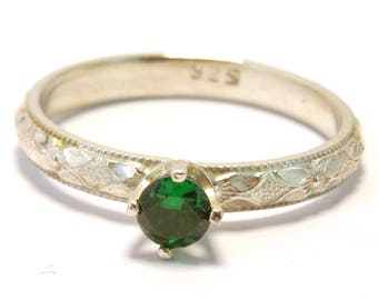 4mm Faceted Emerald Claw Set Stacking Ring on Floral Band