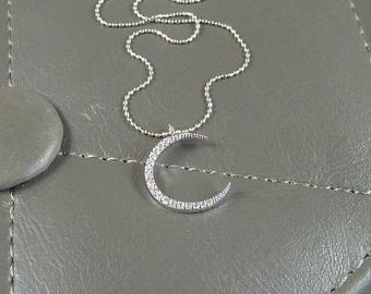 Rising Moon. Silver Crescent Moon Necklace. 16k white gold plated. modern. delicate. whimsical. layering. celestial. feminine. dainty.