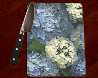 Hydrangea Photo Tempered Glass Cutting Board, Hot Pad Trivet, Cheese Serving Tray, Floral Chopping Board, flowers, Fine Art