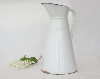 White enamel pitcher, French Enamelware, Enameled water pitcher jug, Vintage country kitchen decor, Outdoor gardening.