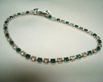 1992 Silver Tone Green Thin Rhinestone Bracelet.