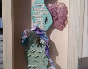 Paper doll winged mermaid shadow box collage - Paris, purple, aqua blue, green, angel, lace art