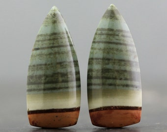 Green Jasper Cabochon Pair, High Quality Natural Stones Flat Back Bezel Edge Gemstones - Wire Wrap Lessons & Beading Gems (20241)