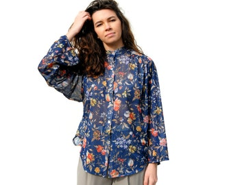 Dark blue/navy with fall colors floral print sheer polyester blouse 1980s 80s VINTAGE