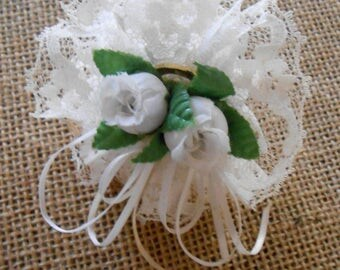 Vintage Handmade White Rose Ribbon and Lace Brass Wedding Bell Cake Topper
