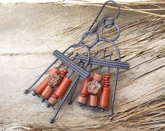 Brick Red Bead Mix Summer Copper Earrings