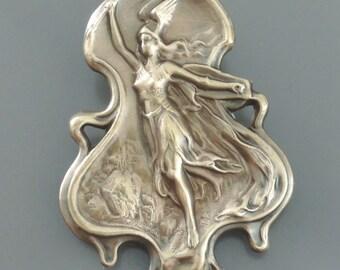 Vintage Brooch - Art Nouveau Jewelry - Goddess Hermes Pin - Vintage Brass jewelry - Mercury Jewelry - handmade jewelry