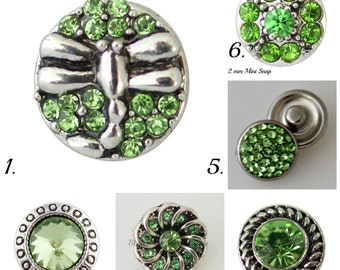 Mini snap charms in a light green,  will fit petite Ginger Snaps Jewelry and other 12 mm snap jewelry.