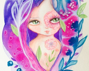 I see flowers - watercolor painting, boho girl, floral painting, whimsical art, mixed media art, colorful painting, collage