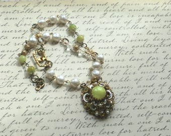 Upcycled vintage pearl citrine brooch necklace~wire wrapped crystals rosary style~assemblage findings jewelry~ecofriendly jewelry