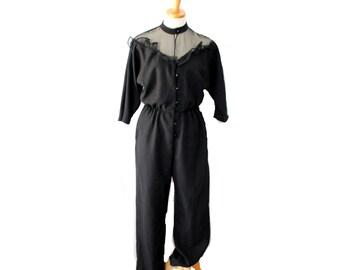 Vintage 70s 80s DISCO Ruffle Black Jumpsuit // PBJ // Women Small