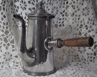 Vintage French Silver Plate Chocolate Pot for Decor